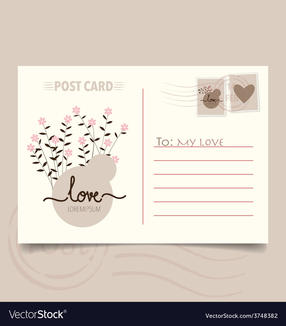 Romantic postcard design with flower background vector | Price: 1 Credit (USD $1)