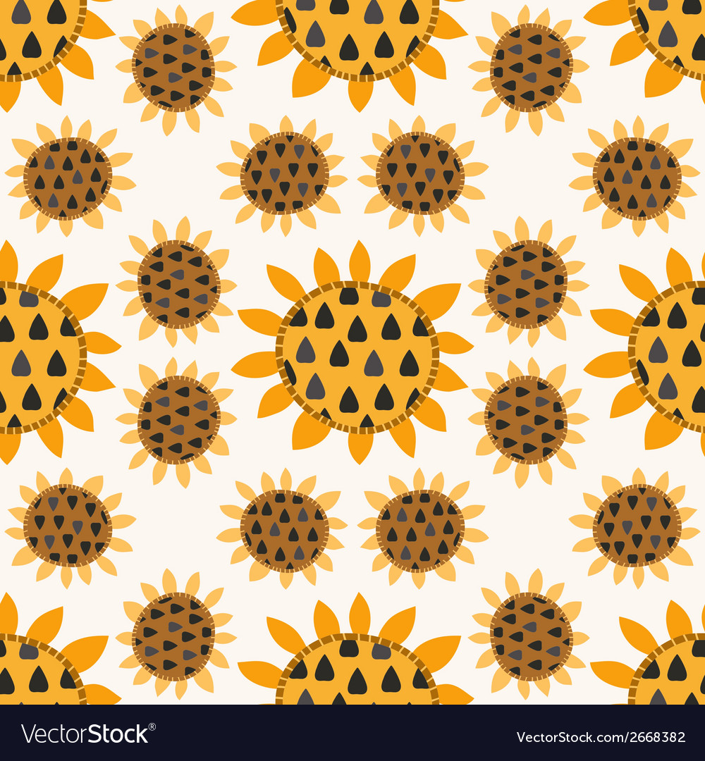 Seamless pattern with sunflowers vector | Price: 1 Credit (USD $1)