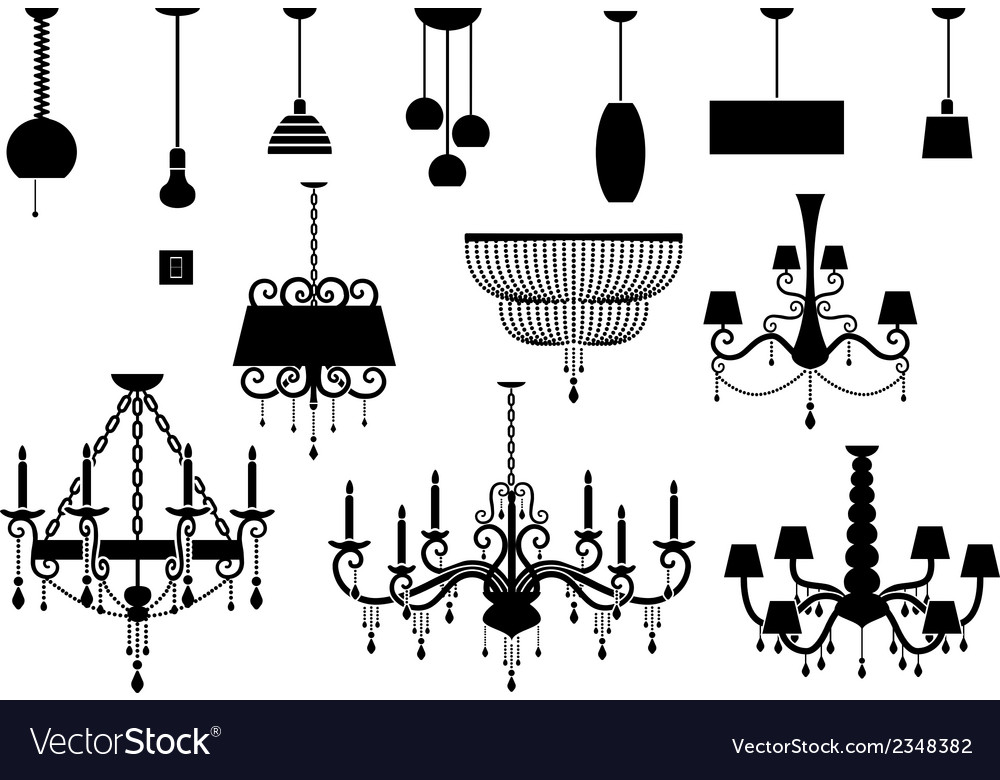 Sets of silhouette chandelier and lamp vector | Price: 1 Credit (USD $1)