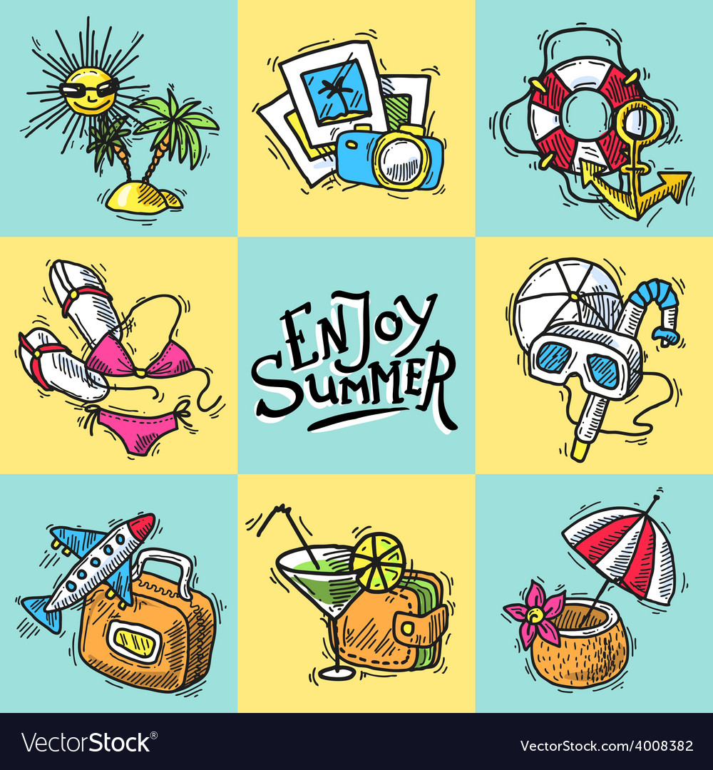 Vacation decorative icons vector | Price: 1 Credit (USD $1)