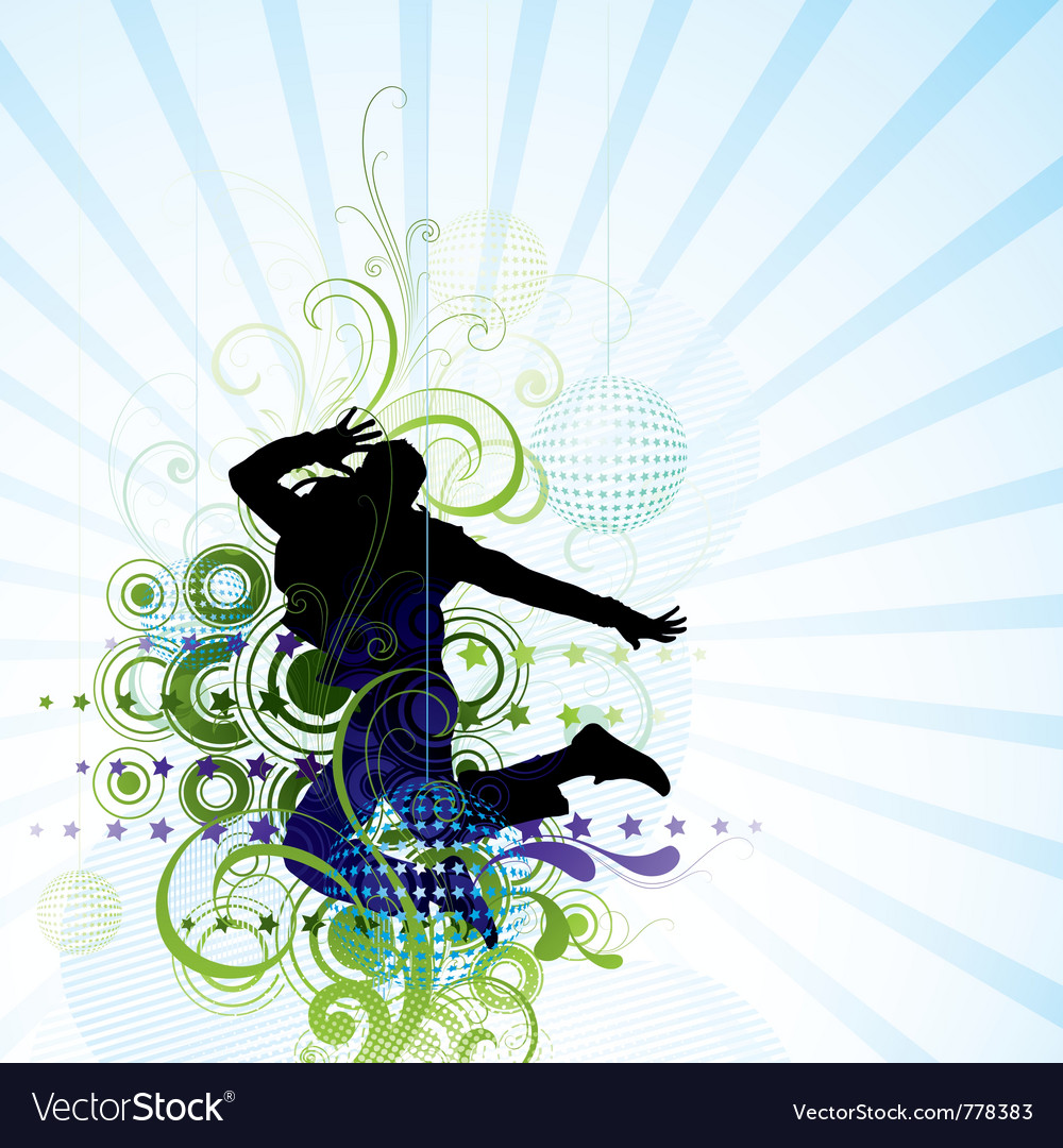 Artistic man jumping poster vector | Price: 1 Credit (USD $1)