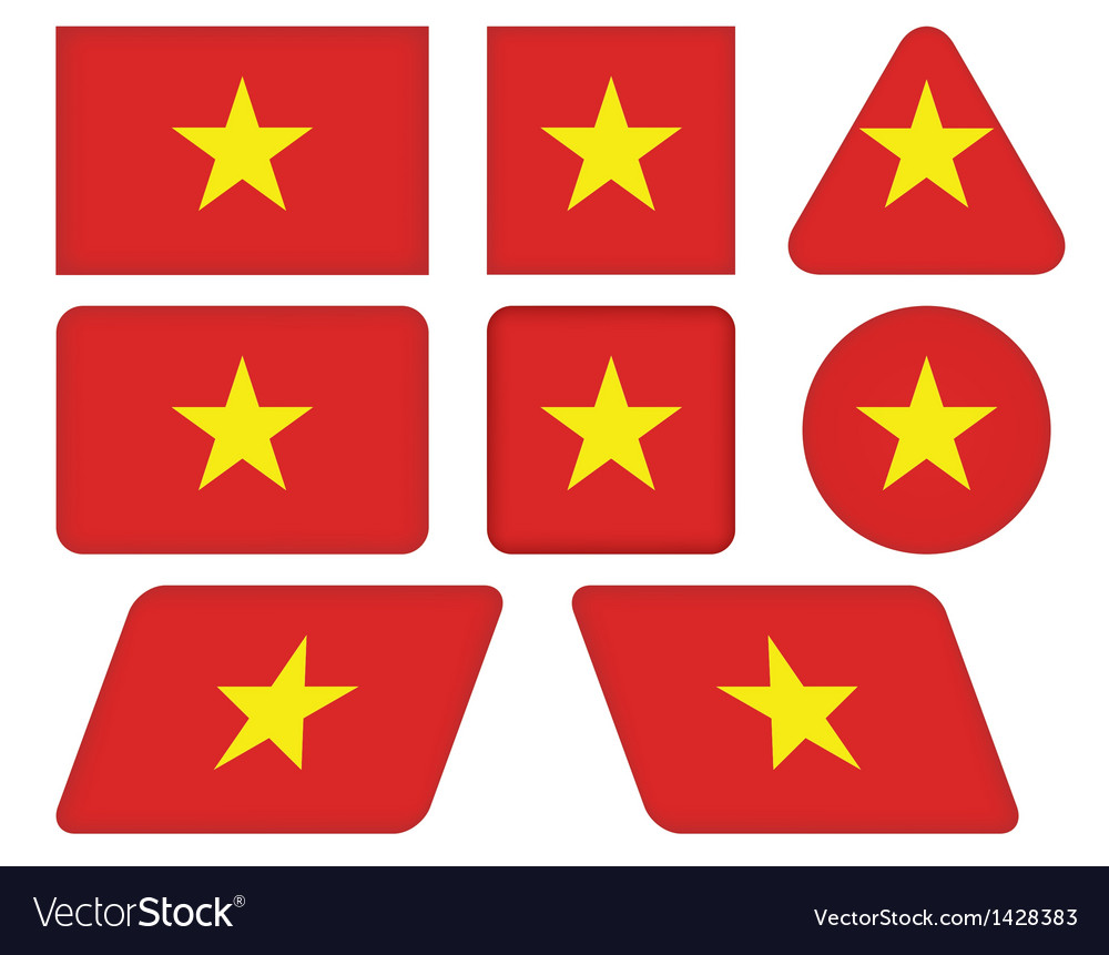 Buttons with flag of vietnam vector | Price: 1 Credit (USD $1)