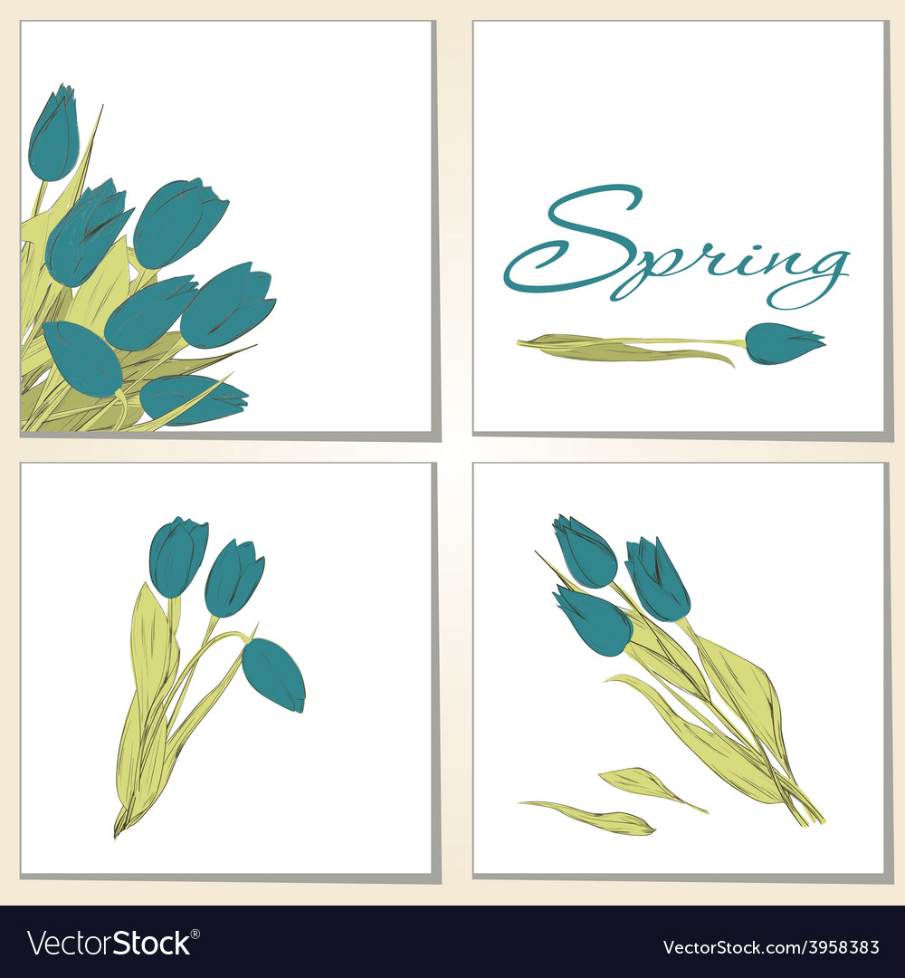 Cards with tulips vector | Price: 1 Credit (USD $1)