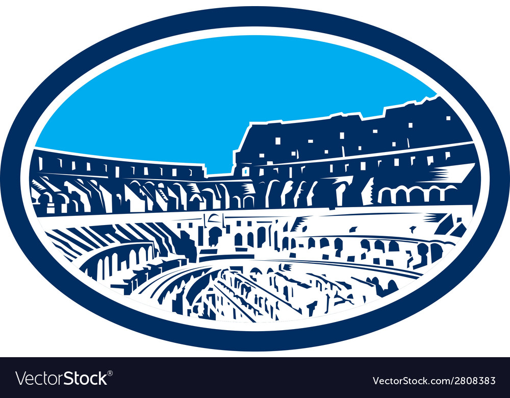 Coliseum colosseum rome oval woodcut vector | Price: 1 Credit (USD $1)