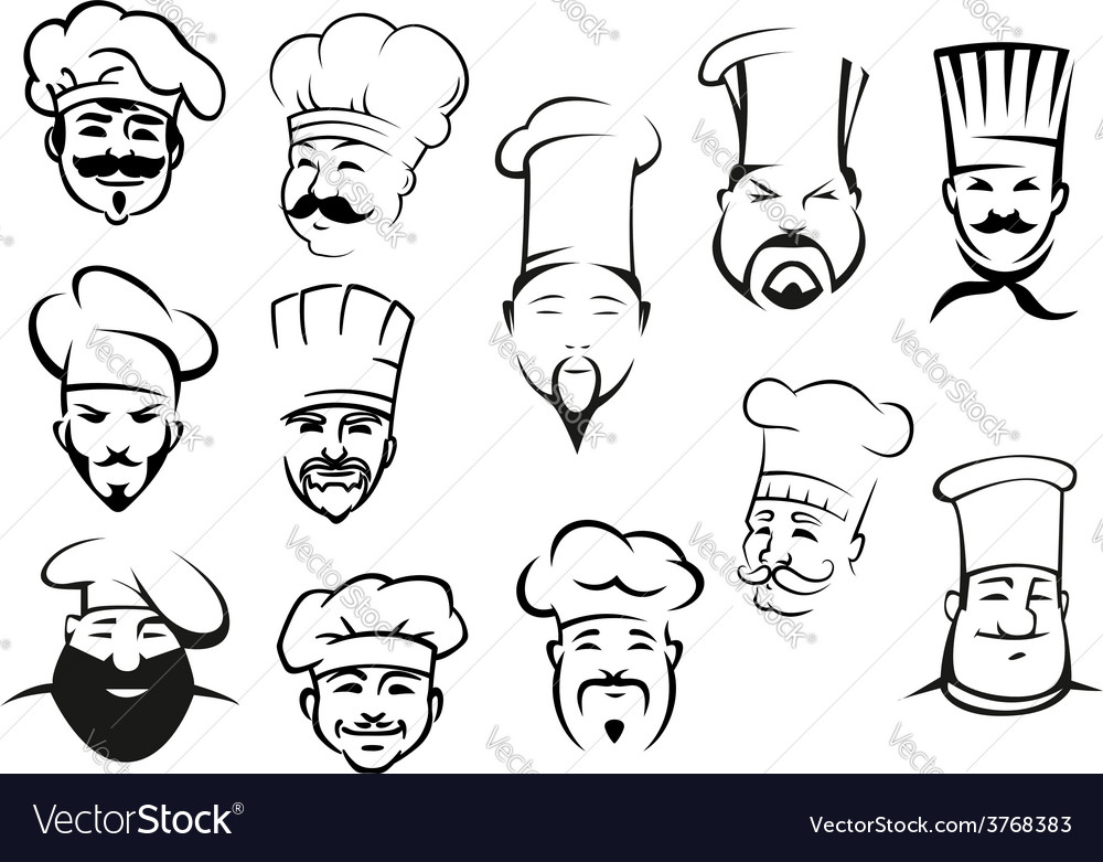 European american and asian chefs in toques vector | Price: 1 Credit (USD $1)