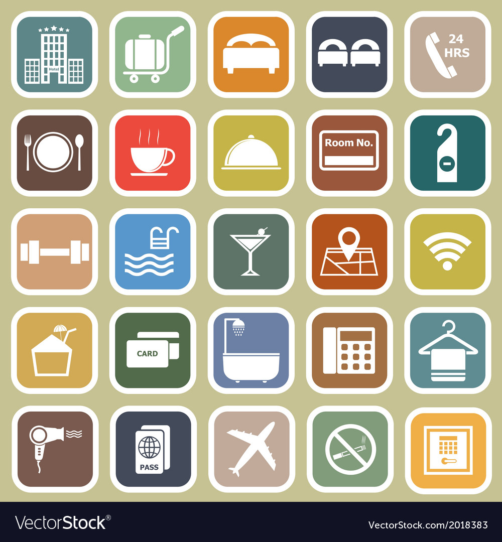 Hotel flat icons on yellow background vector | Price: 1 Credit (USD $1)