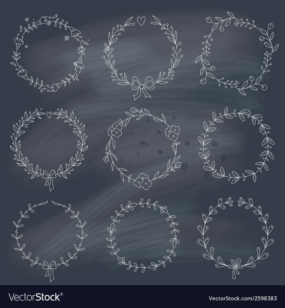 Set of 9 hand drawn wreaths on blackboard vector | Price: 1 Credit (USD $1)