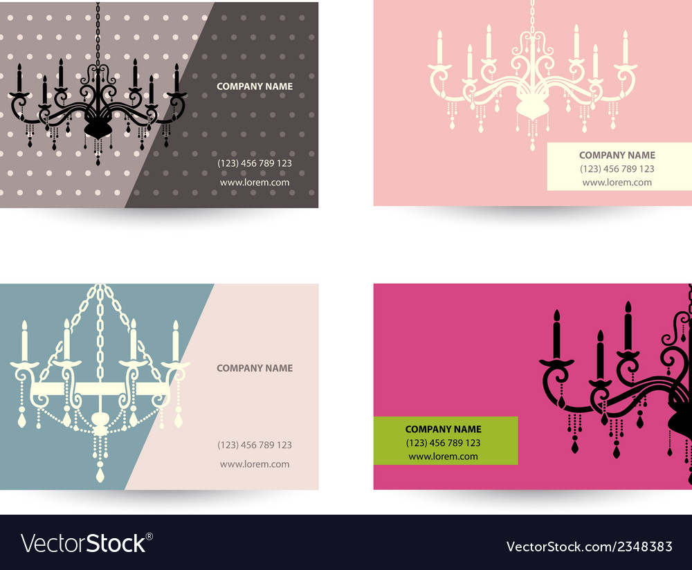 Set of business card template with chandelier vector | Price: 1 Credit (USD $1)