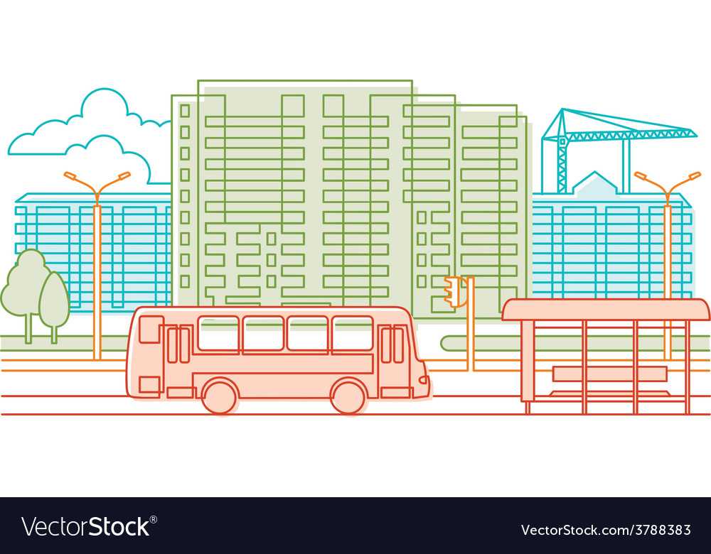 Urban scene - line vector | Price: 1 Credit (USD $1)