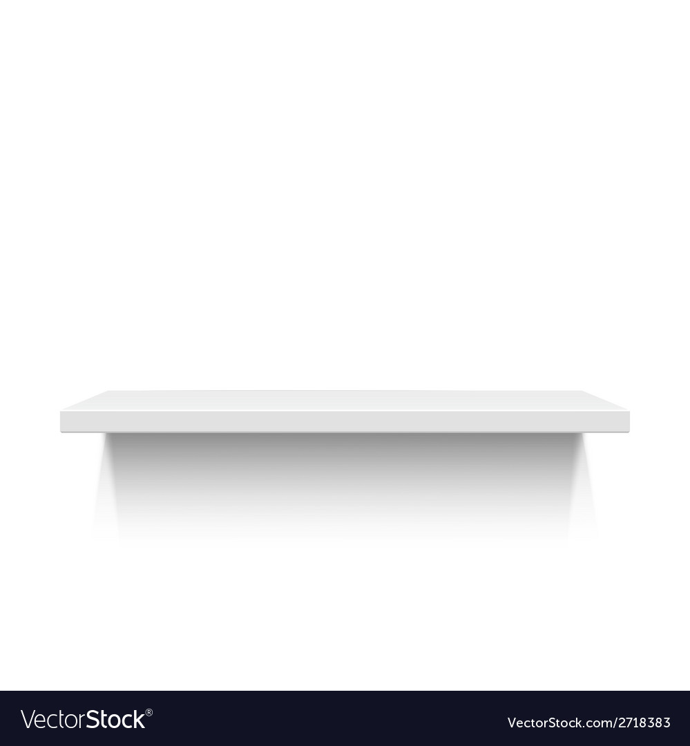White realistic shelf isolated on white background vector | Price: 1 Credit (USD $1)