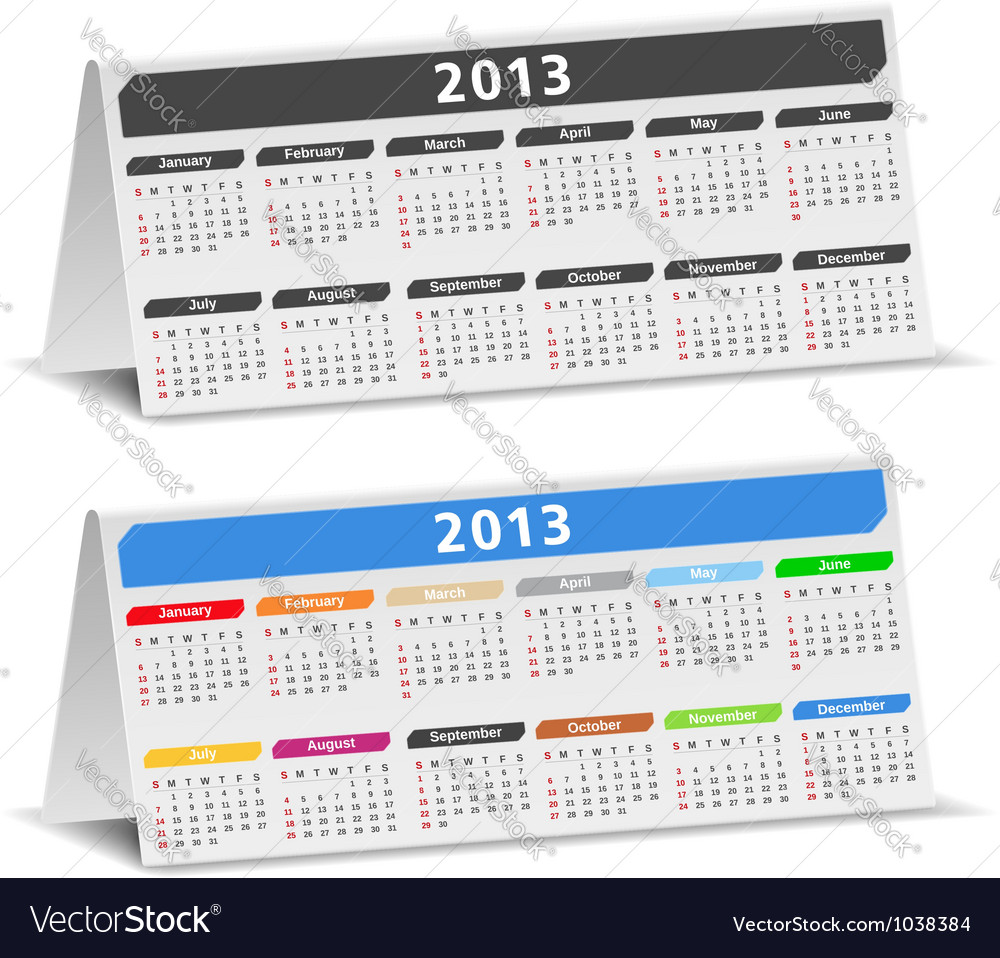 2013 desk calendars vector | Price: 1 Credit (USD $1)