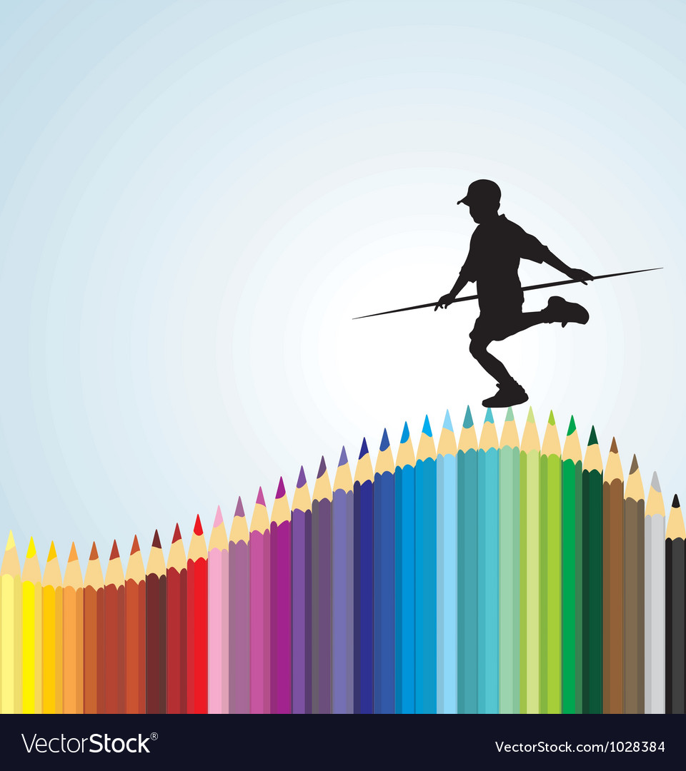 Boy balancing on a pencil vector | Price: 1 Credit (USD $1)