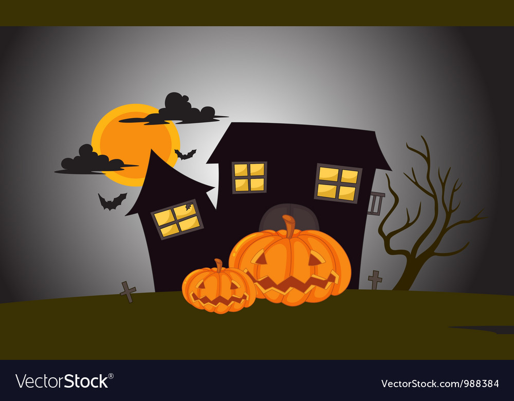 Halloween mansion in dark night vector | Price: 1 Credit (USD $1)