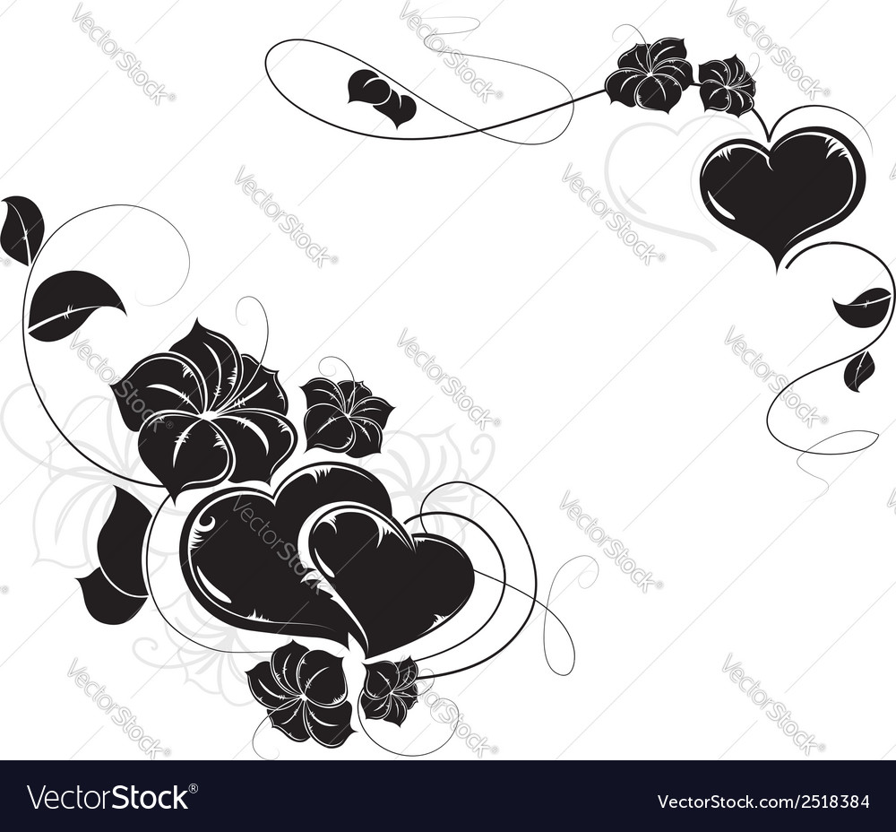 Hearts and flowers silhouettes vector   Price: 1 Credit (USD $1)