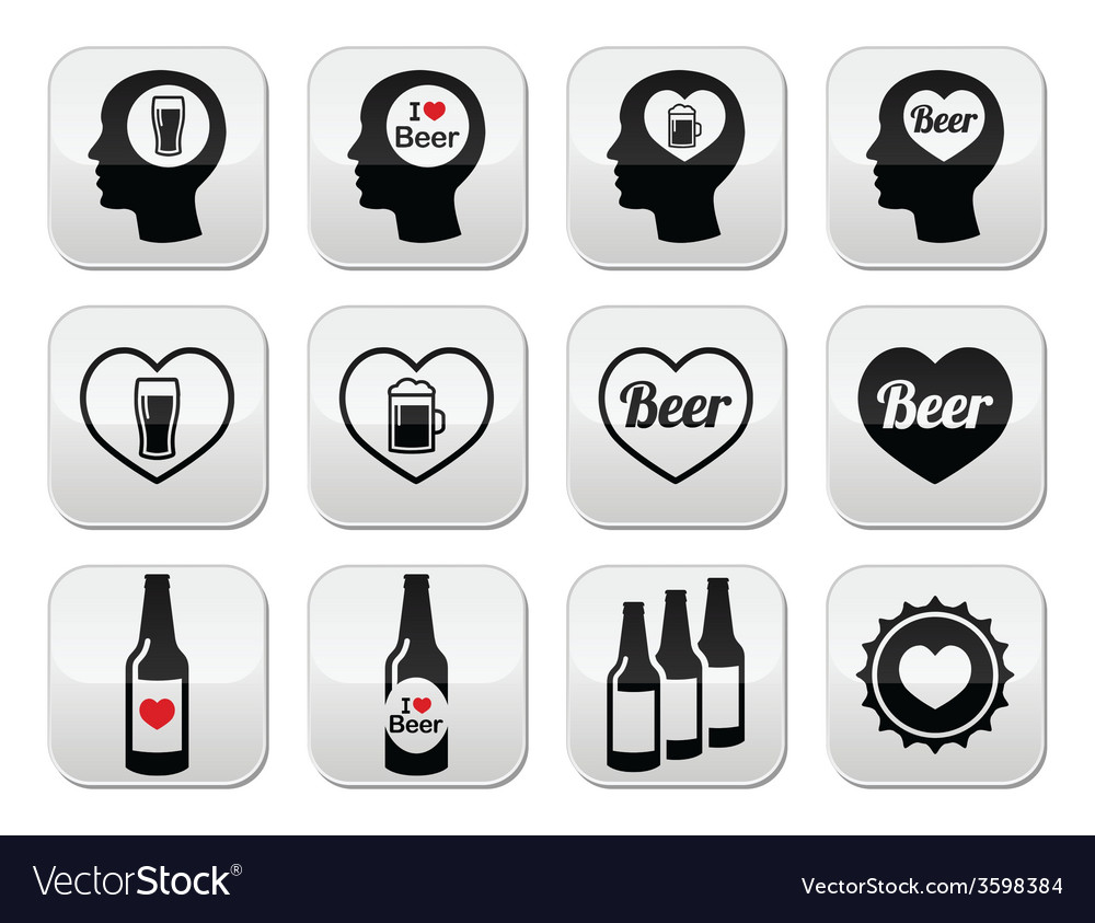Man loving beer buttons set vector | Price: 1 Credit (USD $1)