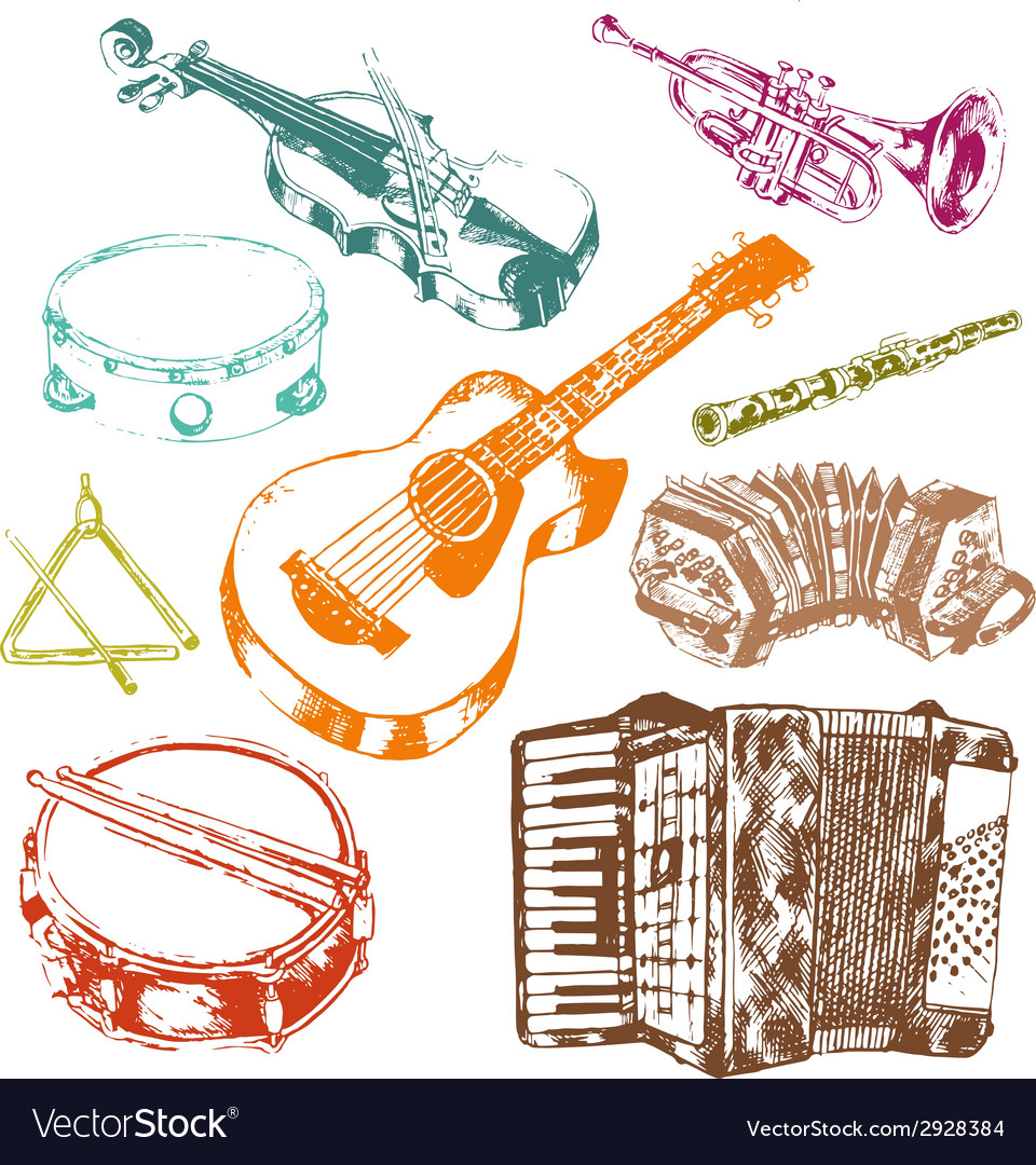 Musical instruments icons color set vector | Price: 1 Credit (USD $1)