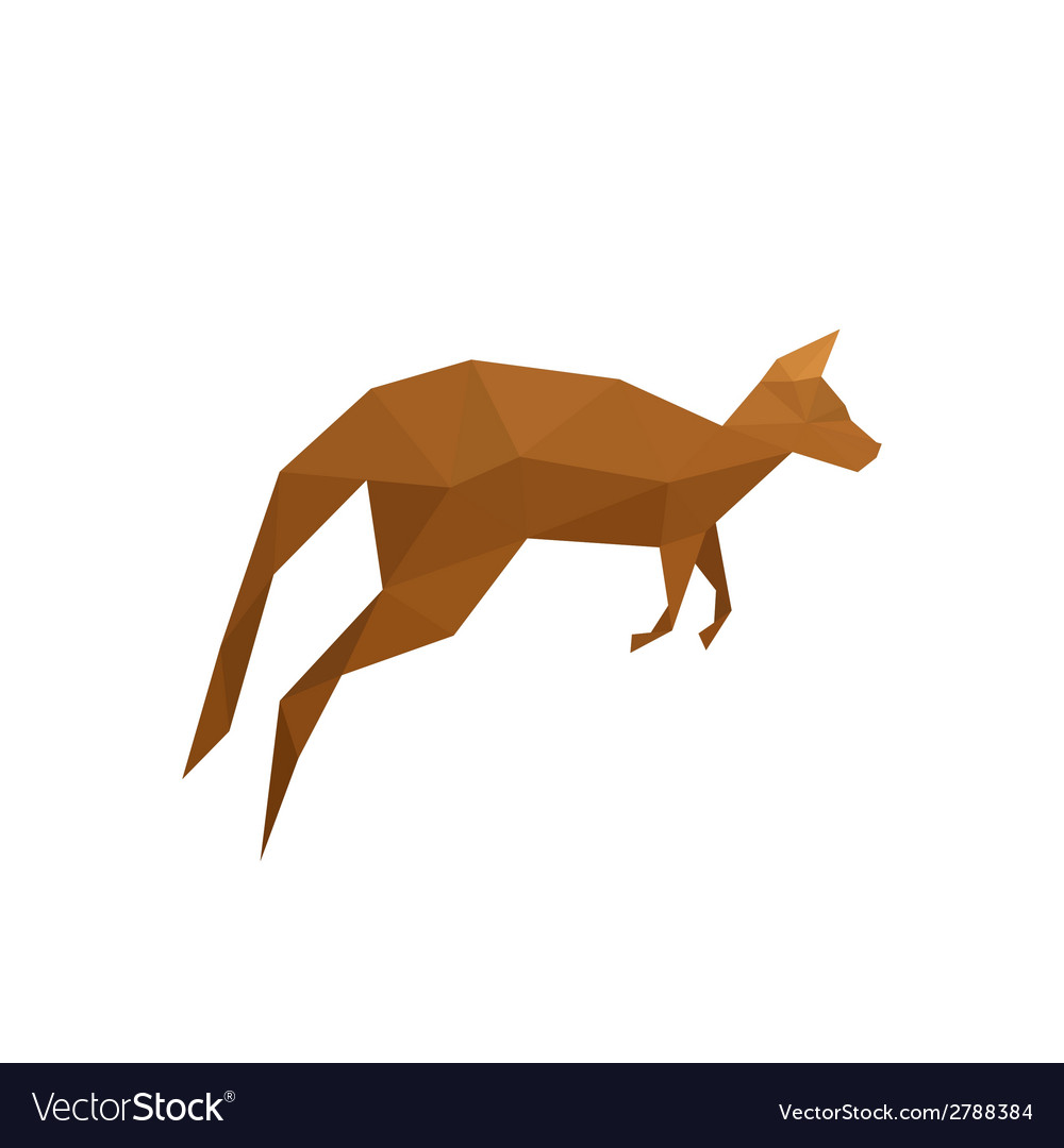 Origami kangaroo isolated on white background vector | Price: 1 Credit (USD $1)