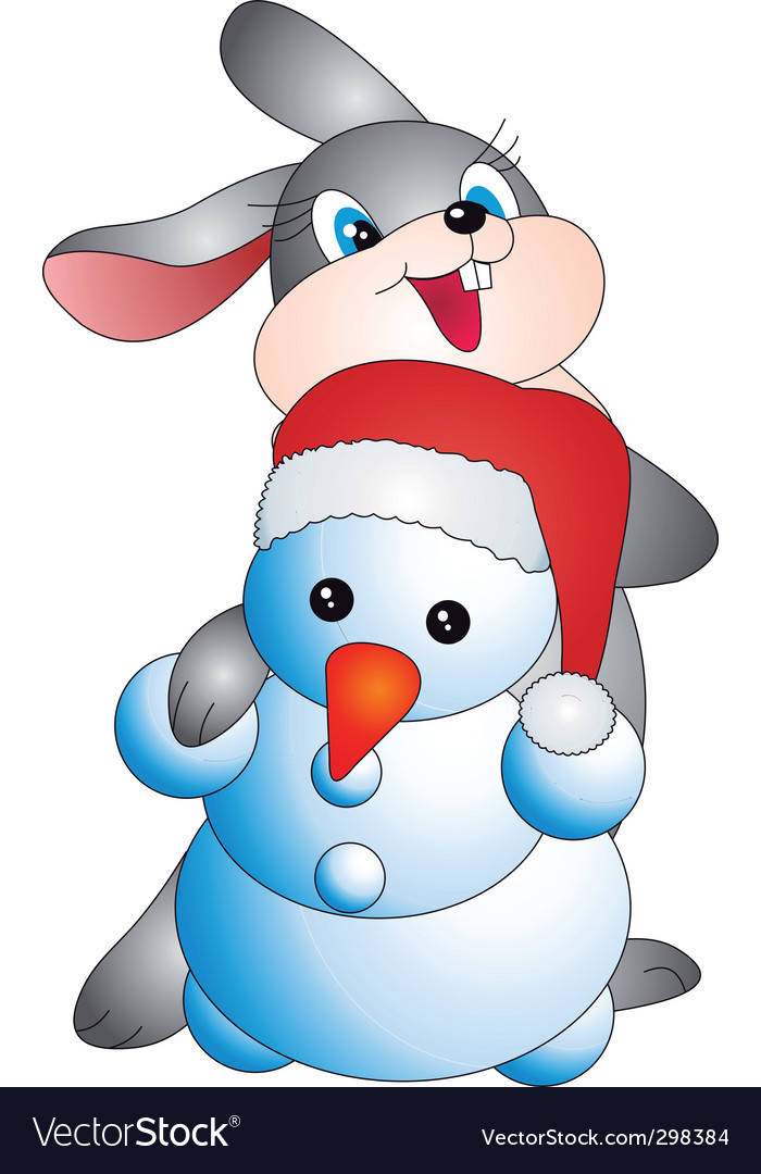 Rabbit and snowman vector | Price: 1 Credit (USD $1)
