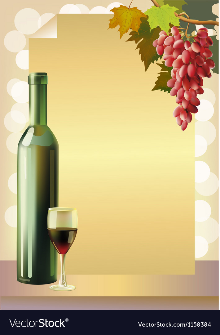 Ripe grapes wine glass and bottle wine vector   Price: 1 Credit (USD $1)