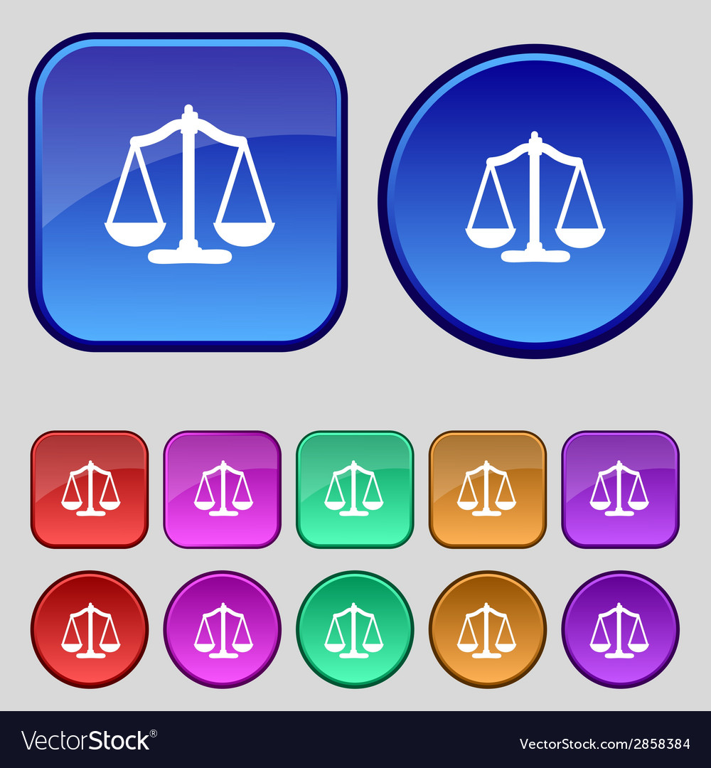 Scales of justice sign icon court law symbol set vector   Price: 1 Credit (USD $1)