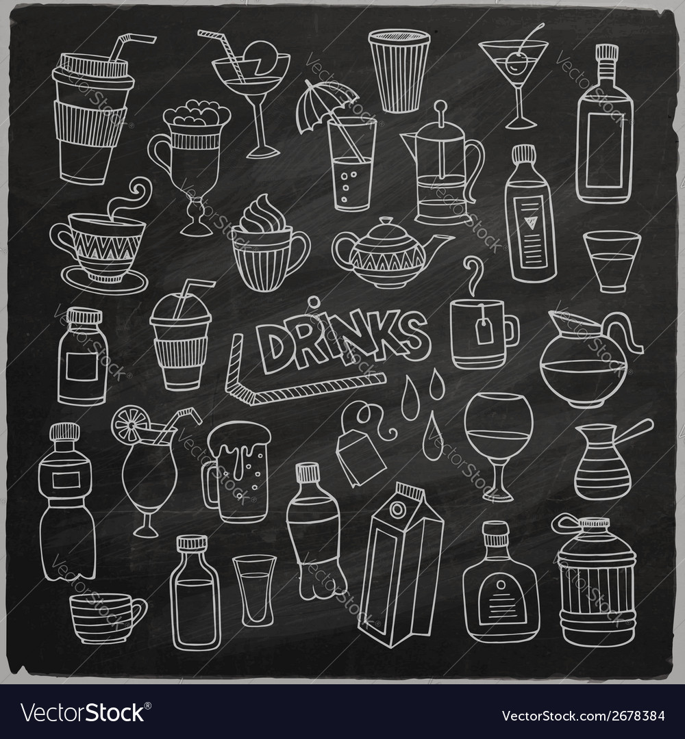 Set of different hand drawn beverages on vector | Price: 1 Credit (USD $1)