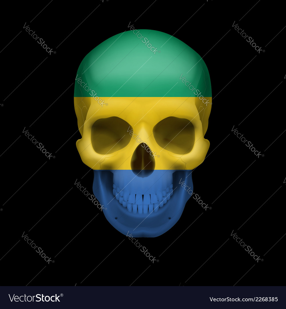Gabonese flag skull vector | Price: 1 Credit (USD $1)