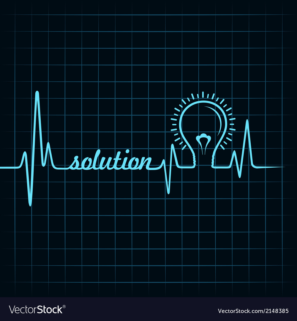 Heartbeat make solution word and light-bulb vector | Price: 1 Credit (USD $1)