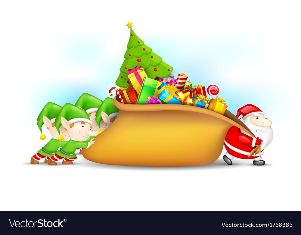 Santa claus and elf with christmas gift vector | Price: 3 Credit (USD $3)