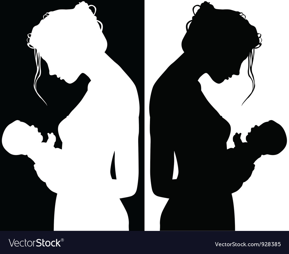 Silhouettes of mother and child vector