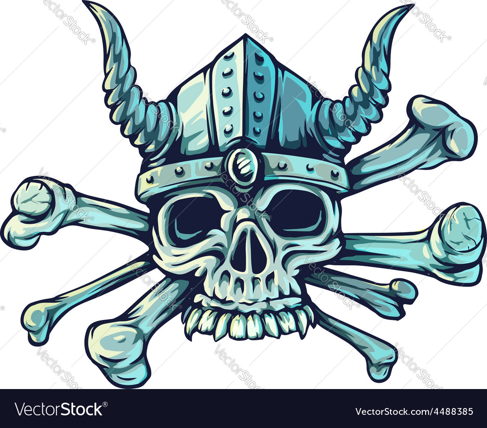 Skull with horns and crossed vector