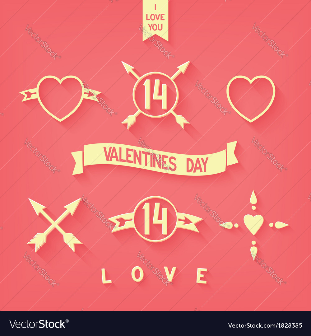 Tender flat design love iconsimbols details vector | Price: 1 Credit (USD $1)
