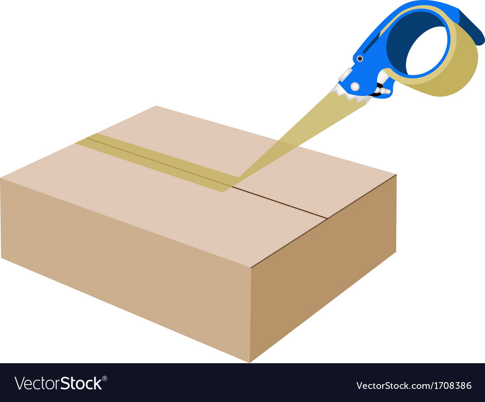 Adhesive tape dispenser closing a cardboard box vector | Price: 1 Credit (USD $1)