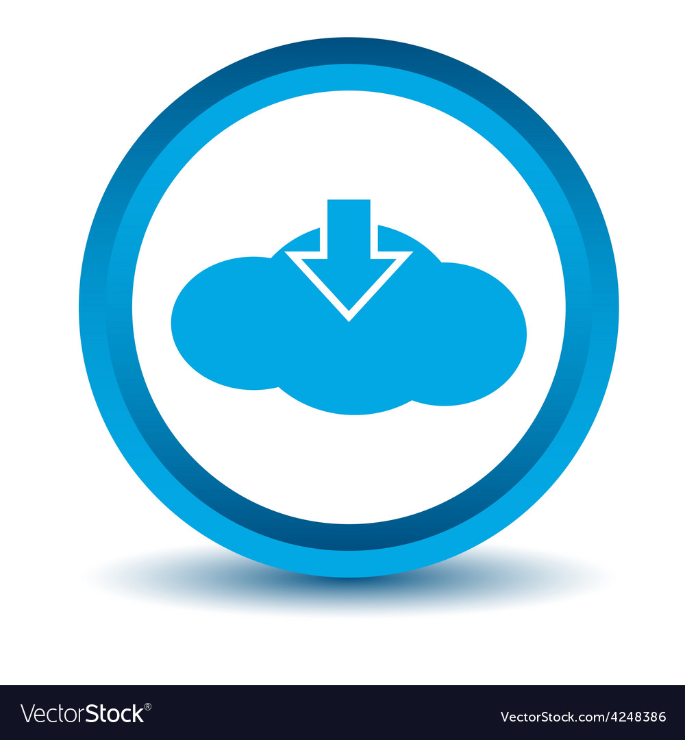 Blue download cloud icon vector | Price: 1 Credit (USD $1)