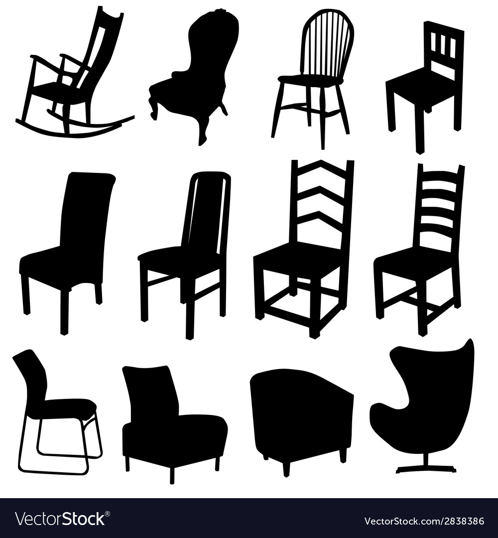 Chair art in black color two vector | Price: 1 Credit (USD $1)