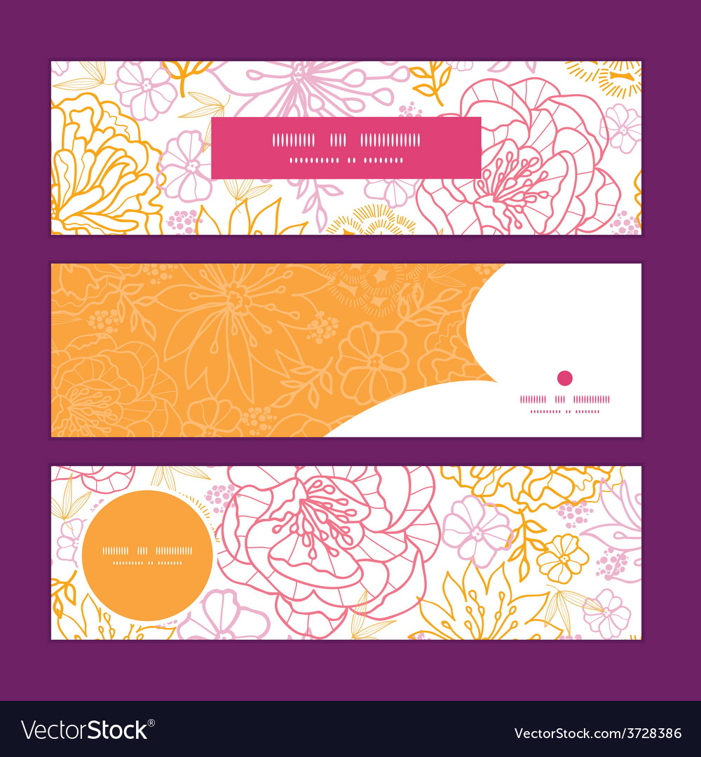 Flowers outlined horizontal banners set vector | Price: 1 Credit (USD $1)