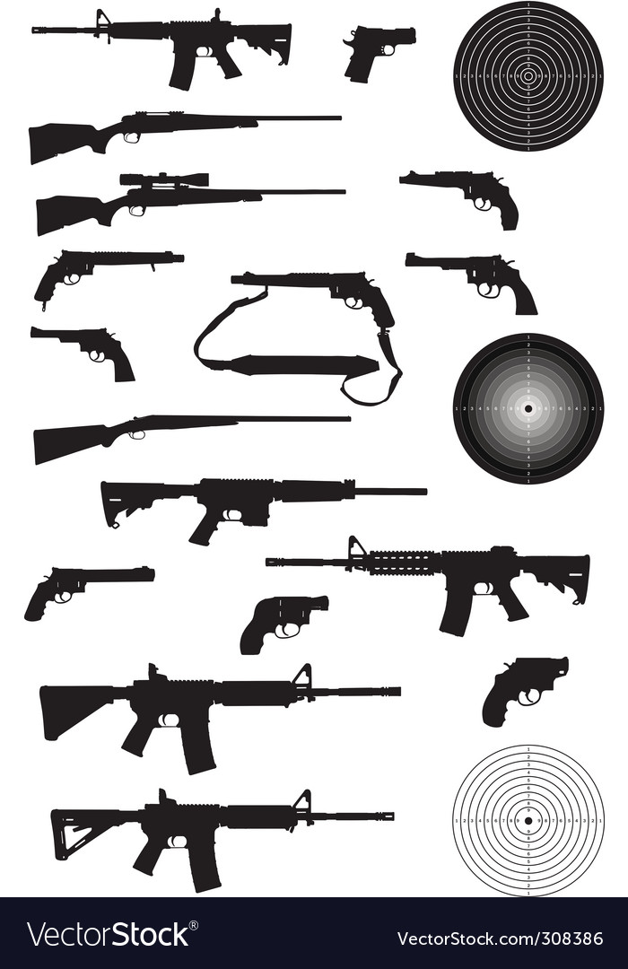 Gun silhouette collection vector | Price: 1 Credit (USD $1)