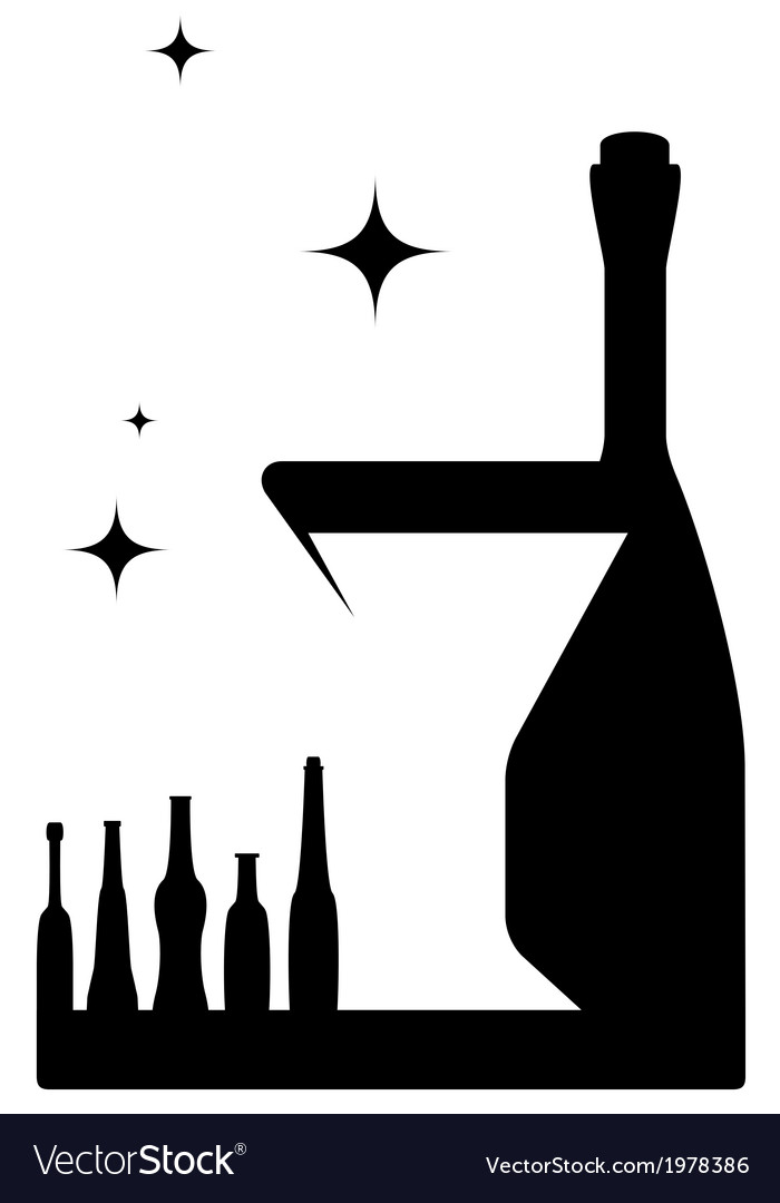Icon with bottle and wineglass vector | Price: 1 Credit (USD $1)