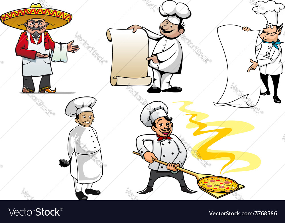 International chefs cartoon characters vector | Price: 1 Credit (USD $1)