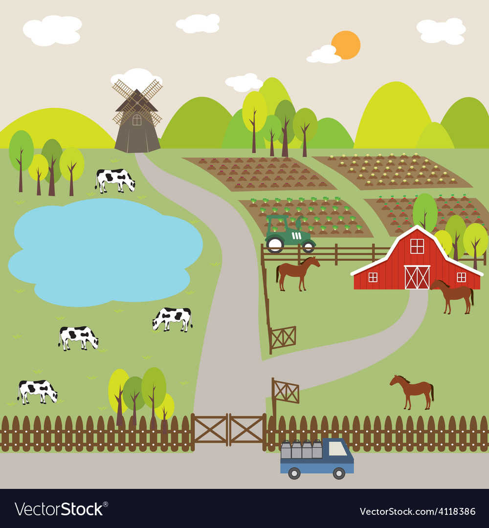 Landscape of farm field and hill vector | Price: 1 Credit (USD $1)