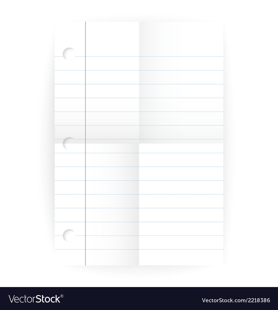 Notepad ruled blank page with folds vector | Price: 1 Credit (USD $1)