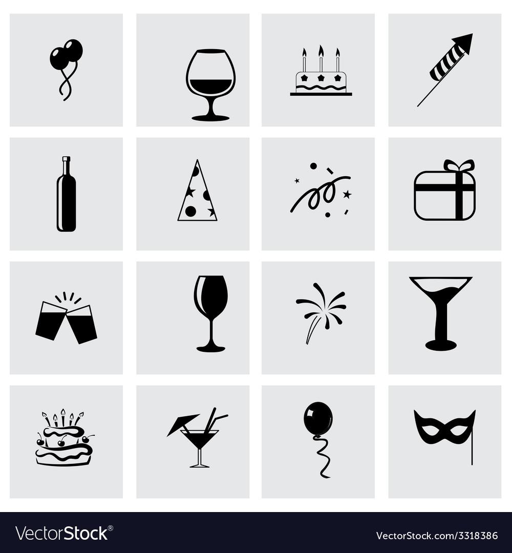 Party icon set vector | Price: 1 Credit (USD $1)