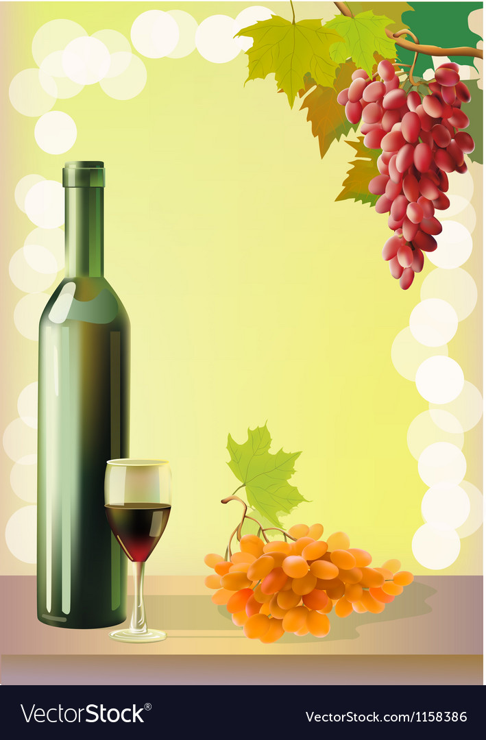 Ripe grapes wine glass and bottle wine vector | Price: 1 Credit (USD $1)