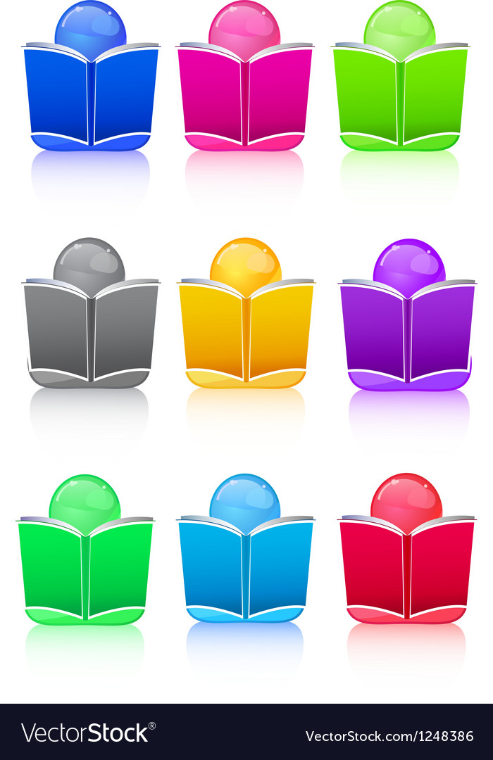Set of icon people with colorful book sign vector | Price: 1 Credit (USD $1)
