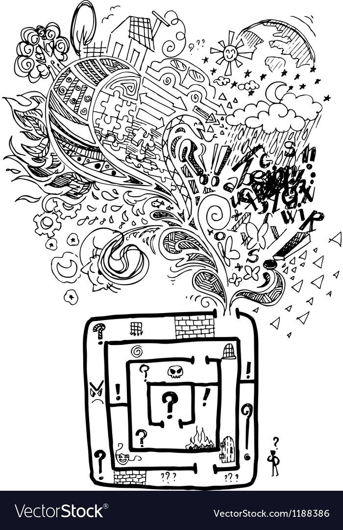 Sketchy doodle confused maze vector   Price: 1 Credit (USD $1)