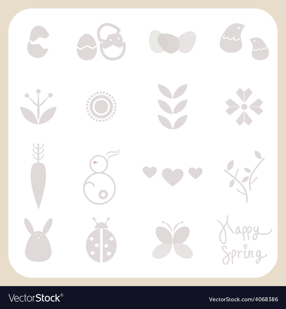 Spring icons set vector | Price: 1 Credit (USD $1)