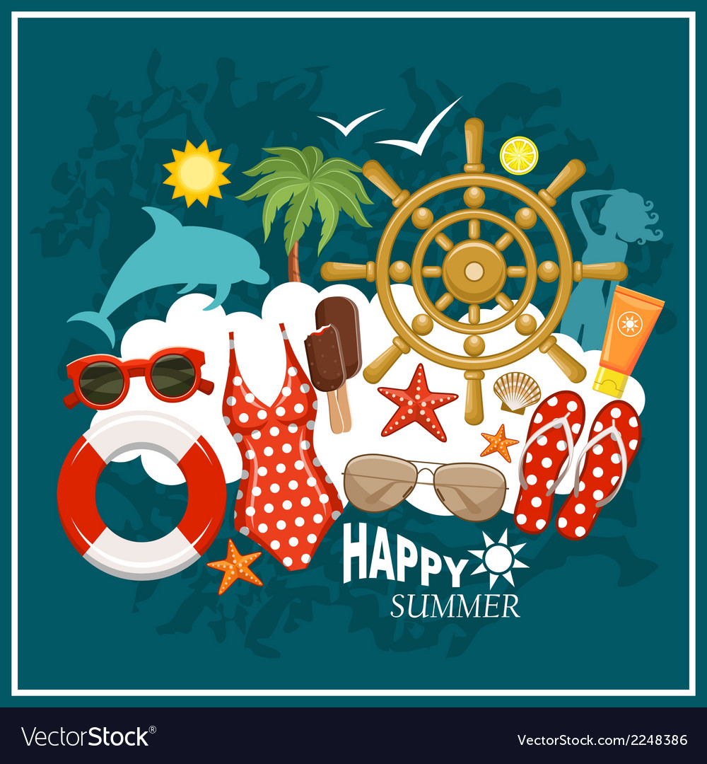 Summer beach set vector | Price: 1 Credit (USD $1)