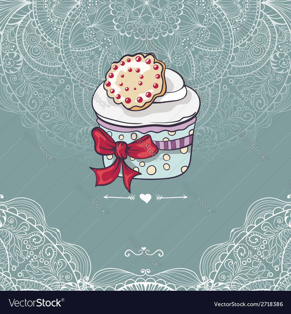 Vintage invitation card with a cupcake vector | Price: 1 Credit (USD $1)