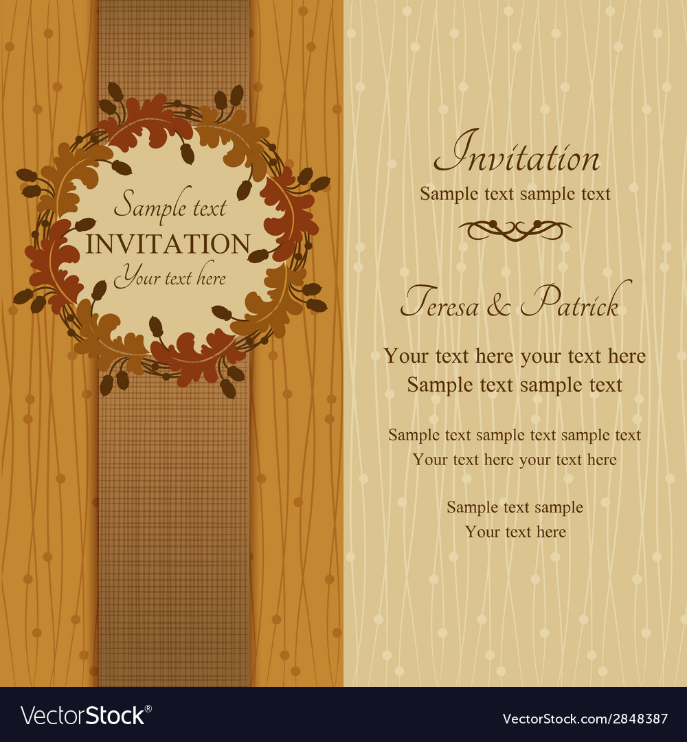 Autumn or summer invitation brown and beige vector | Price: 1 Credit (USD $1)