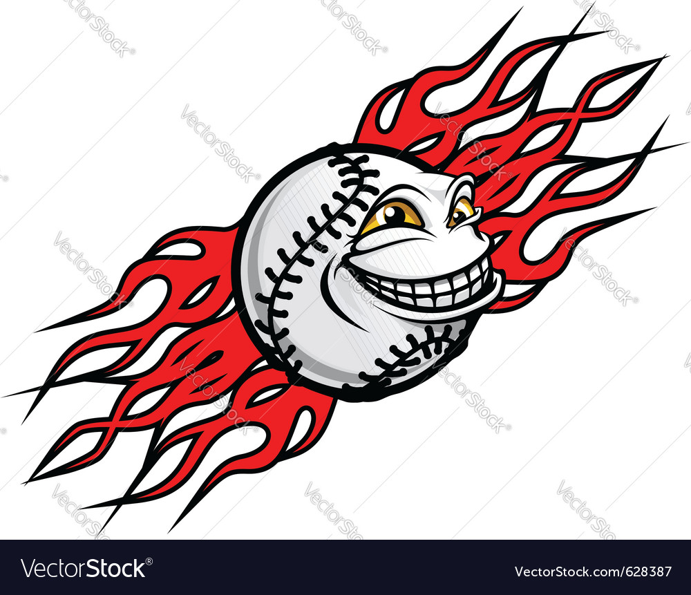 Baseball ball with flames vector | Price: 1 Credit (USD $1)