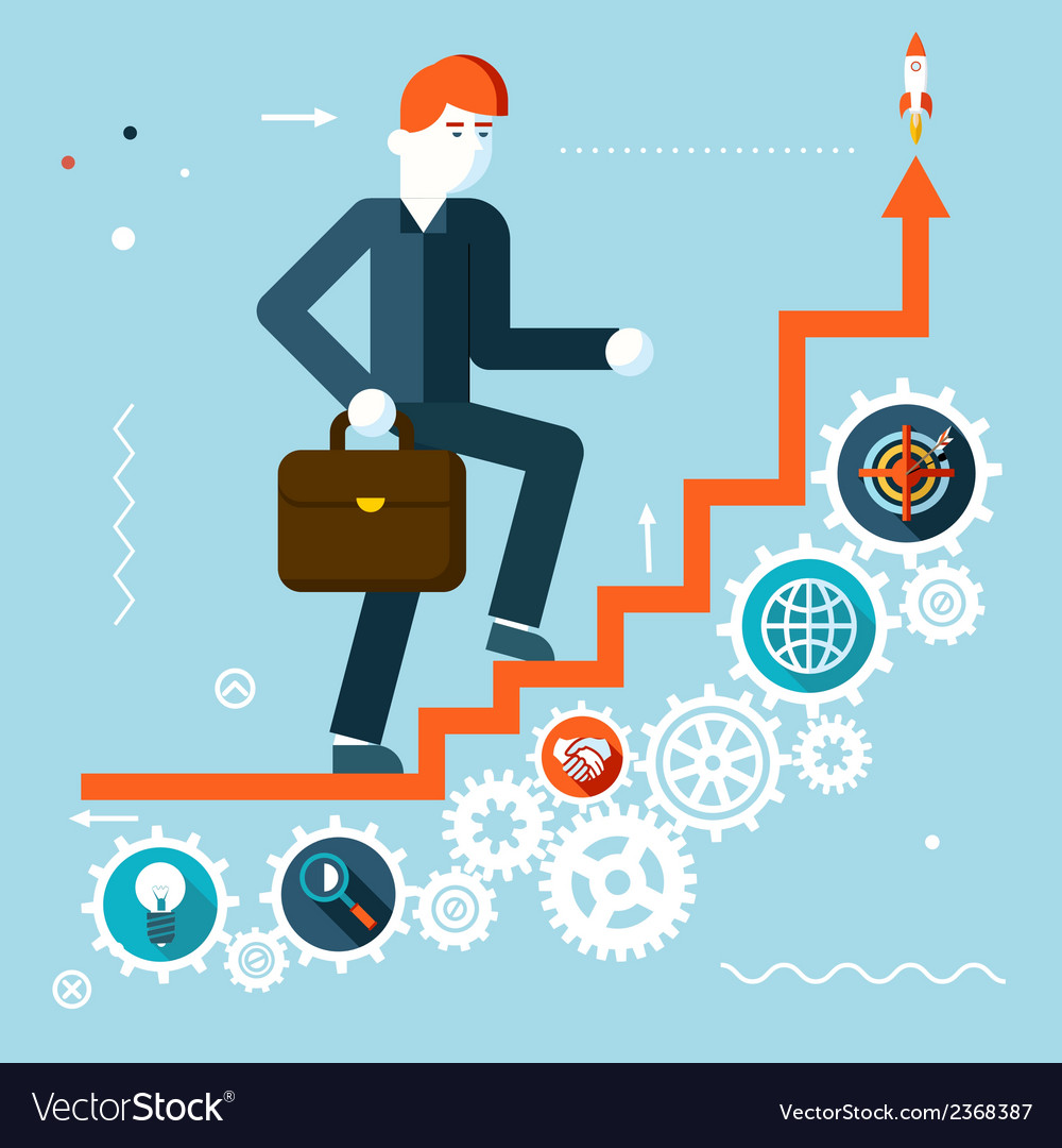 Businessman goes success infographic stairs symbol vector | Price: 1 Credit (USD $1)